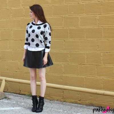 Polka Dot Sweater, White Button-up Shirt, Leather Skirt, Black Booties