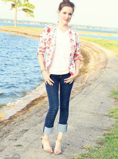 Pair a Floral Blazer with a plain white tee, skinny jeans and strappy heels for a fun look!