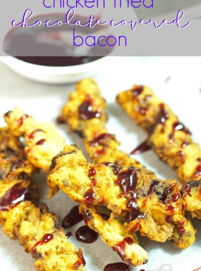 This recipe is the PERFECT addition to your tailgating party. What could be better than Chicken Fried Chocolate Covered Bacon?? Add a dipping sauce like this Raspberry sauce and you are set!