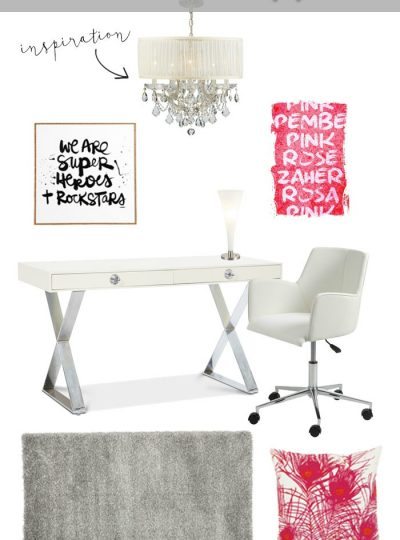This home office is the perfect mix of modern and girly! Perfect pops of pink help finish off this chic home office.