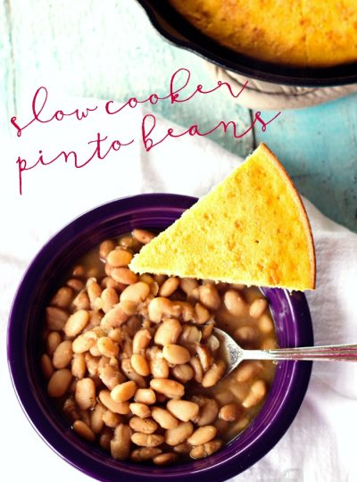 This is a super easy dish to make for your family! These Slow Cooker Pinto Beans are super easy to make and you'll end up with left-overs!!