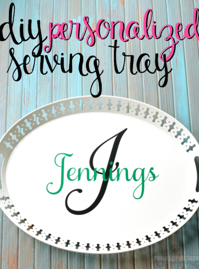 This DIY Personalized Serving Tray makes the PERFECT gift for friends getting married or friends buying their first home!