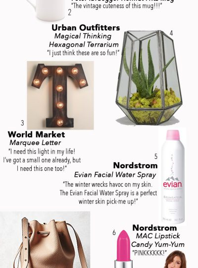 Loving this month's Budget Buys under $100...World Market, Glitter Pillow, Terranium, Bucket Bag, Vintage Mug, Pink Lipstick and more!