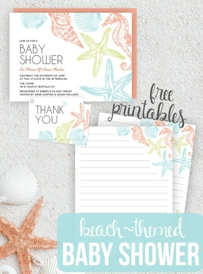 Planning a Beach Themed Baby Shower? Check out these super cute Seaside Baby Shower Invites! Free Printables for your Baby Shower!