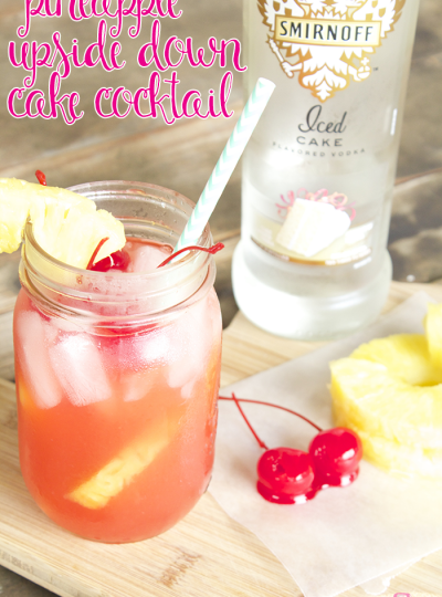 My mouth is watering thinking about this cocktail, y'all. It's a spot on version of the classic Pineapple Upside Down Cake but in cocktail form. No joke! It's soo good!