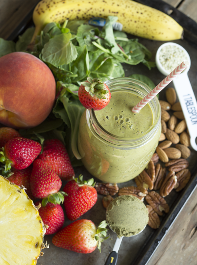 Looking for a morning pick-me-up? Check out my Green Smoothie Recipe. Loaded with tons of nutrition and tastes so good!