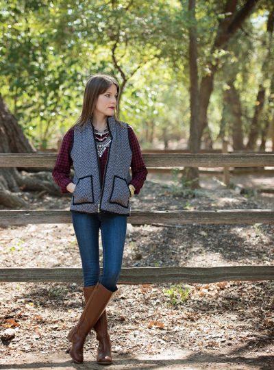 Herringbone Vest, Plaid Shirt, Skinny Jeans, Riding Boots & Statement Necklace