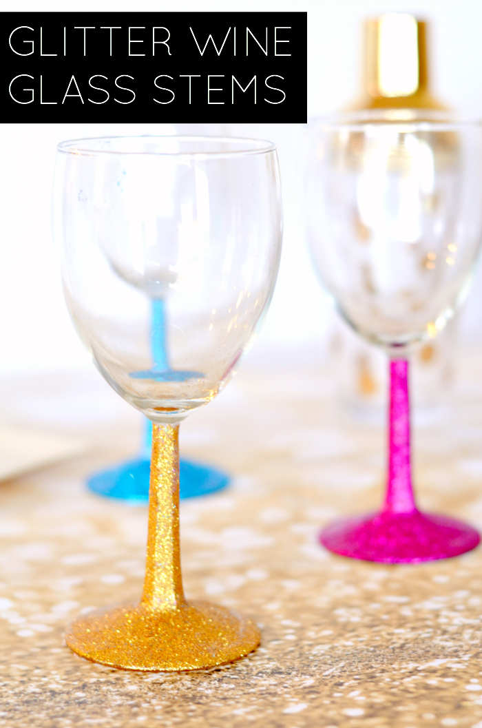 How to glitter wine glasses taylor bradford for Thin stem wine glasses