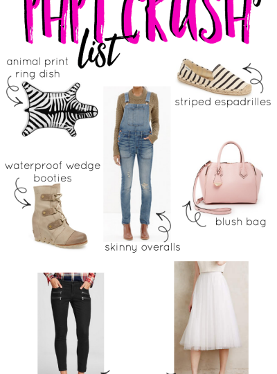 What I'm crushing on this month...wedge booties, skinny overalls, blush handbags and more!