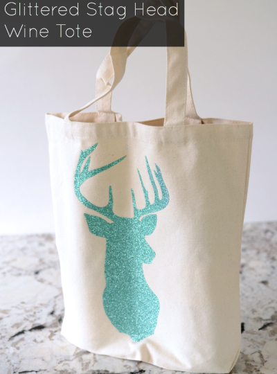 Learn how to make your own Glittered Stag Head Wine Tote with this Tutorial using a Silhouette.