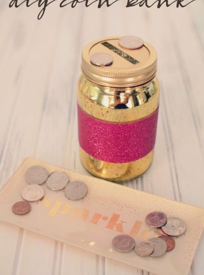 Make saving money fun with this sparkly DIY Coin Bank!