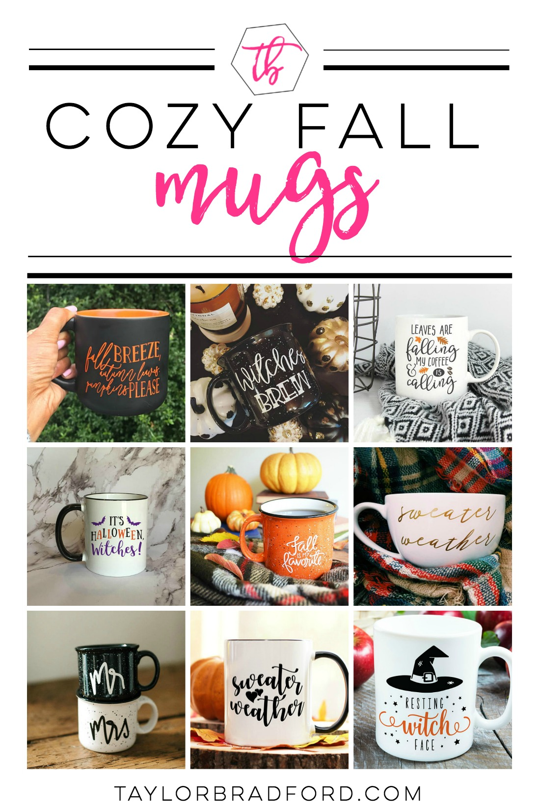 Love Fall as much as I do? Check out these Cozy Fall Mugs perfect for your favorite hot beverage!! #fallmugs #mugs
