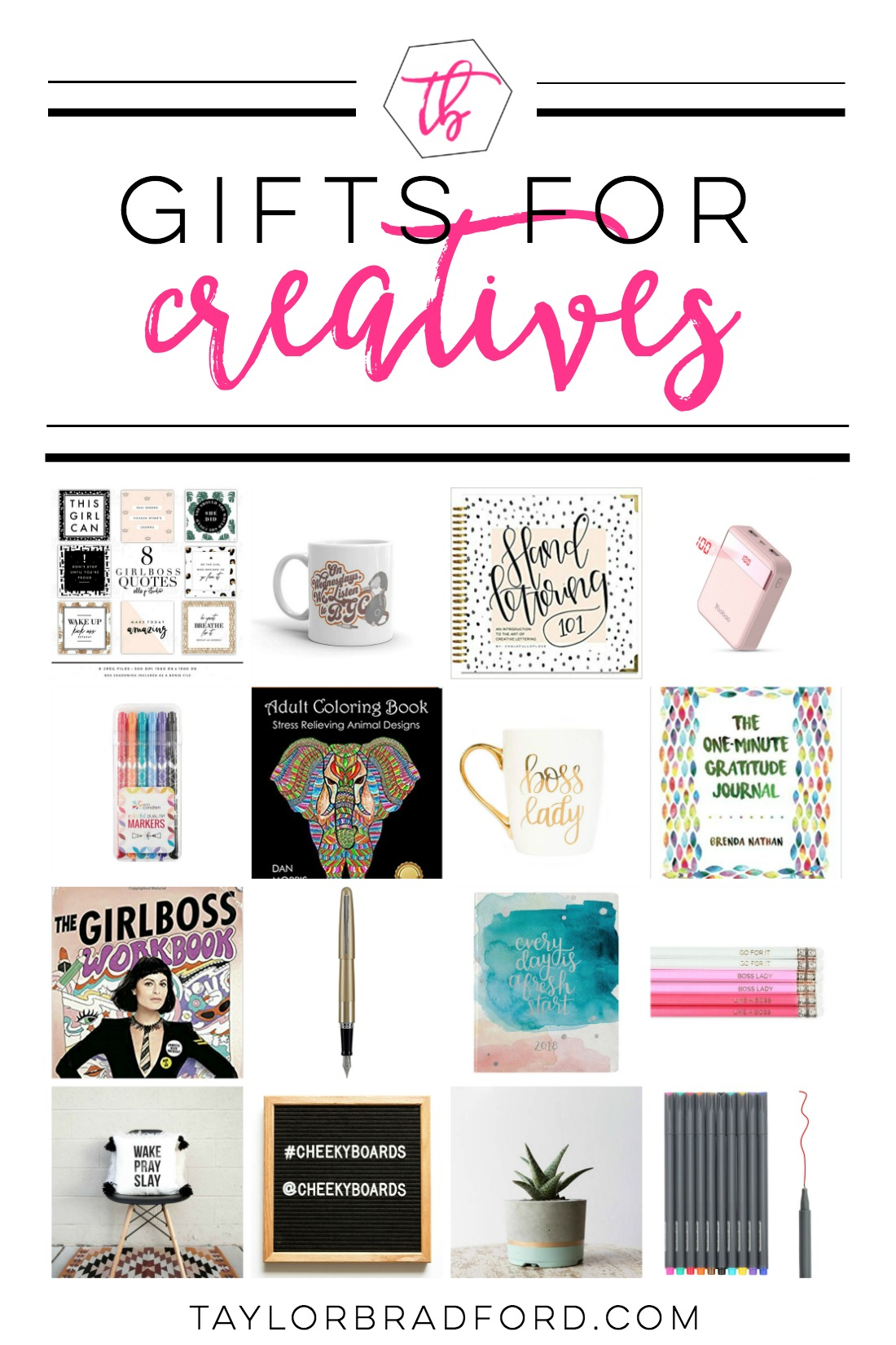 The perfect gift list for Creatives!! Never feel stuck again when shopping for a creative with these gifts for creative entrepreneurs! From desk accessories to books all creatives should read - this list has a little bit of everything.